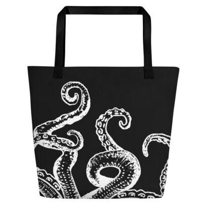 sac de plage noir avec tentacule poulpe blanche