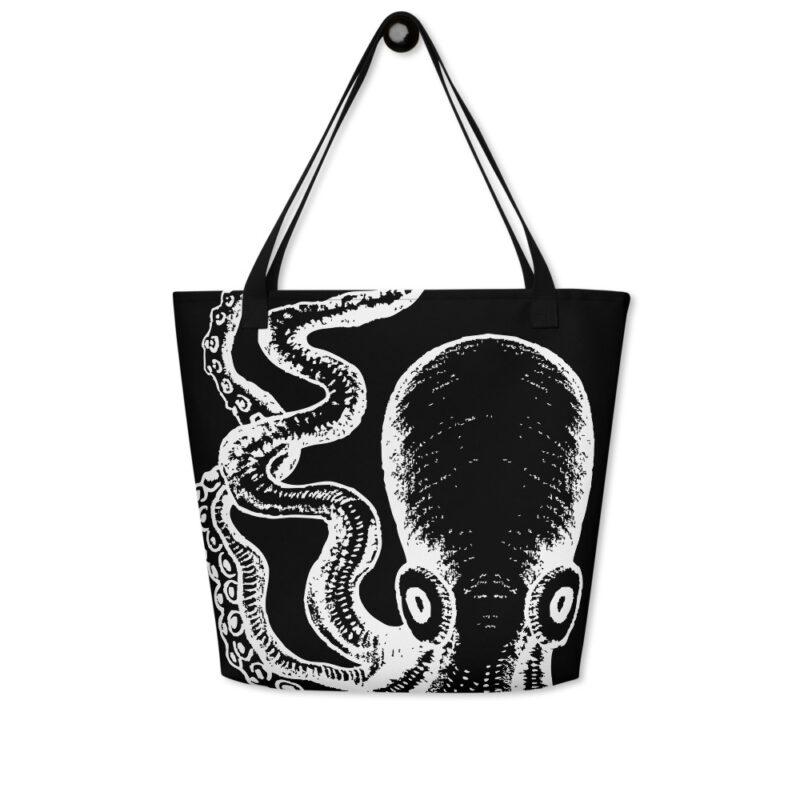 sac fourre tout noir avec pieuvre multipotentielle blanche