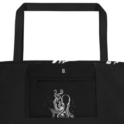 poche intérieure noir avec pieuvre blanche