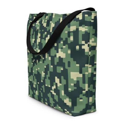 sac fourre tout avec motif armée vert vue côté