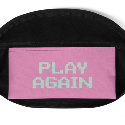 poche intérieure rose de sac banane avec typographie play again