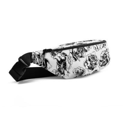 sac de taille avec fleurs noir et blanc vue de côté