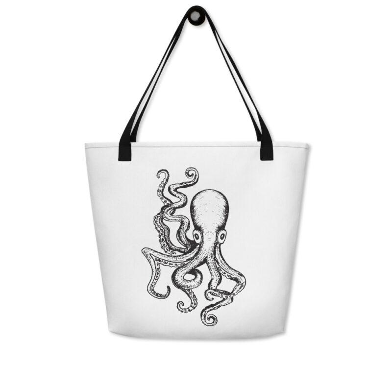 tote bag blanc et octopus poignée noire vue 2