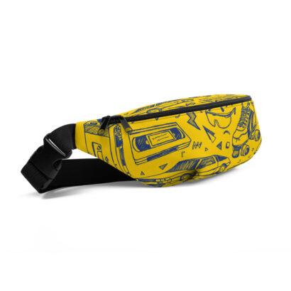 sac banane jaune patins à roulette cassette 1980 vue de côté