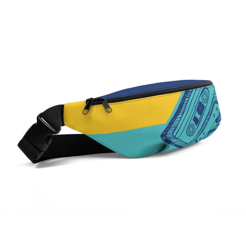 sac banane jaune et bleu avec cassette vintage