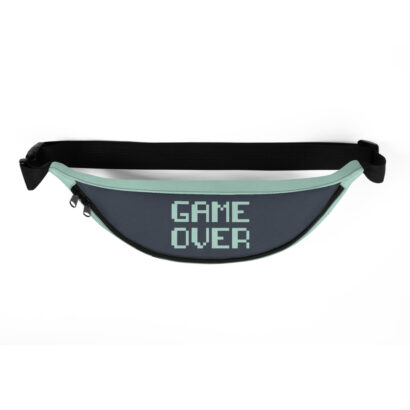 dessus gris sac banane typographie game over