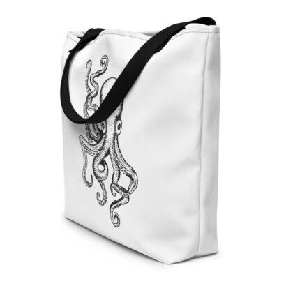 sac fourre-tout blanc et dessins de pieuvre noire