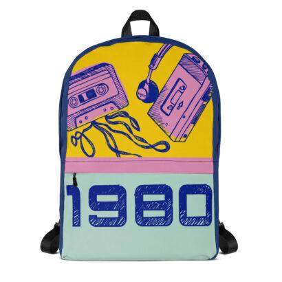sac à dos avec dessins de walkman et cassette 1980 face