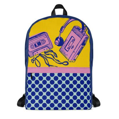 sac à dos jaune bleu et dessins walkman cassette audio