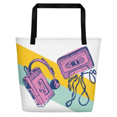 sac fourre tout coloré avec cassette et walkman
