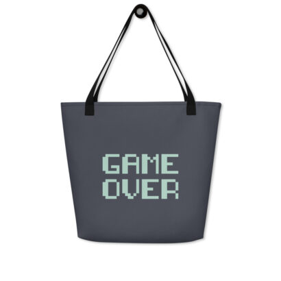 sac de plage noir motif manette jeu vue face