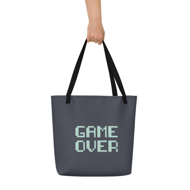 sac de plage noir typographie manette jeu vidéo