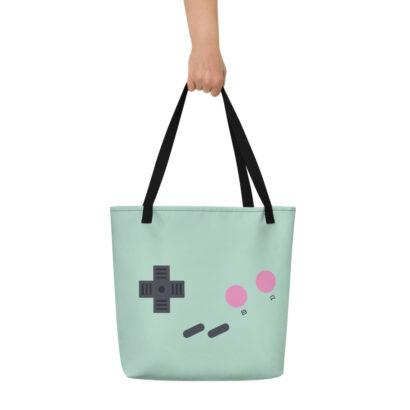 sac de plage vert motif manette de jeu vidéo