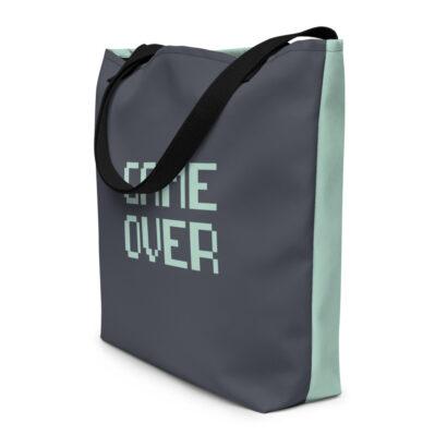 sac de plage noir motif game over