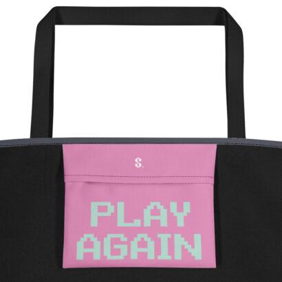 poche intérieure rose sac fourre tout typographie play again