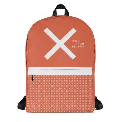 sac à dos orange avec grand x blanc et petits x face