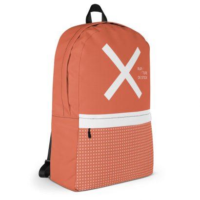sac à dos orange avec grand x blanc et petits x
